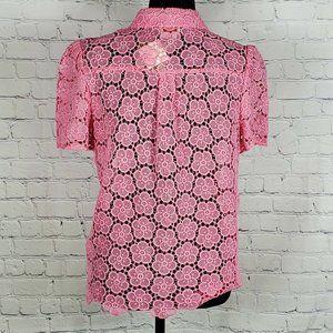 kate spade Tops - Kate Spade Pink Bloom Flower Lace Top